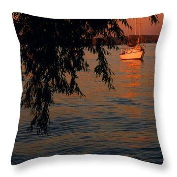 Evening Mooring - Lake Geneva Wisconsin Throw Pillow