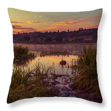 Evening On The Quiet River Throw Pillow