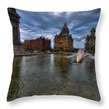 Evening Over Clinton Square Throw Pillow by John Hoey