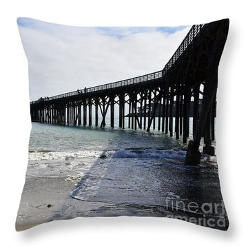 Throw Pillow featuring the photograph Evening Pier Shadows Are Lost In The Surf by Debby Pueschel