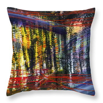 Evening Pond By A Road Throw Pillow