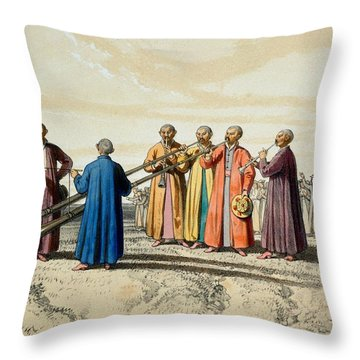 Evening Prayer Among The Kalmuks, Using Throw Pillow by Francois Fortune Antoine Ferogio