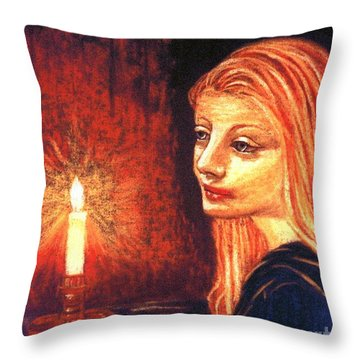 Throw Pillow featuring the painting Evening Prayer by Jane Small