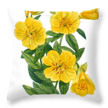 Evening Primrose - Oenothera Fruticosa Throw Pillow