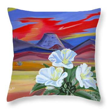 Throw Pillow featuring the painting Evening Primrose by Phyllis Kaltenbach