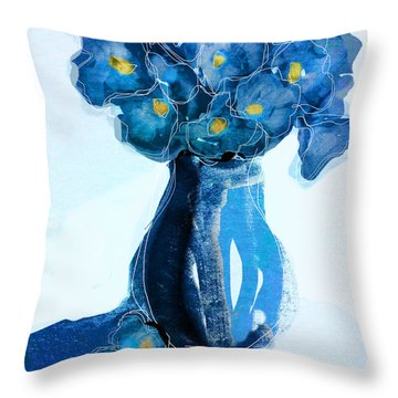 Throw Pillow featuring the painting Evening Primroses by Linde Townsend