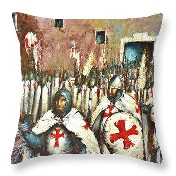 Templar Procession  Throw Pillow