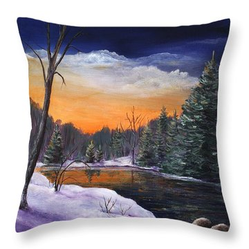 Evening Reflection Throw Pillow by Anastasiya Malakhova