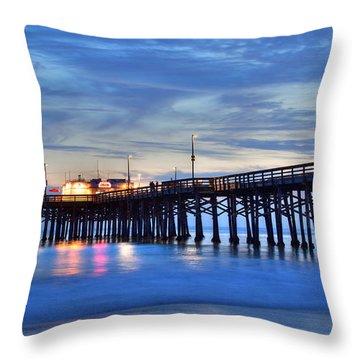 Evening Reflections Newport Beach Pier Throw Pillow