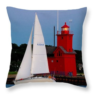 Evening Sail At Holland Light Throw Pillow by Nick Zelinsky