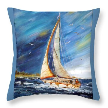 Evening Sailing Throw Pillow