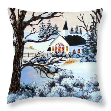Throw Pillow featuring the painting Evening Services by Barbara Griffin