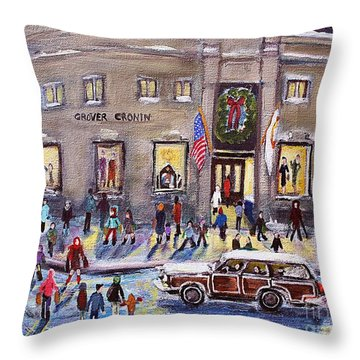 Evening Shopping At Grover Cronin Throw Pillow