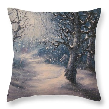 Throw Pillow featuring the painting Evening Snow by Megan Walsh