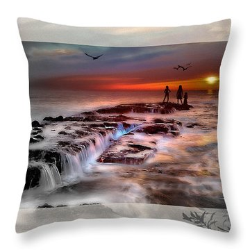 Evening Stroll At The Beach -featured In 'cards For All Occasions'comfortable Art'  'digital Veil Throw Pillow by EricaMaxine  Price