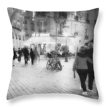 Evening Stroll In Paris Throw Pillow