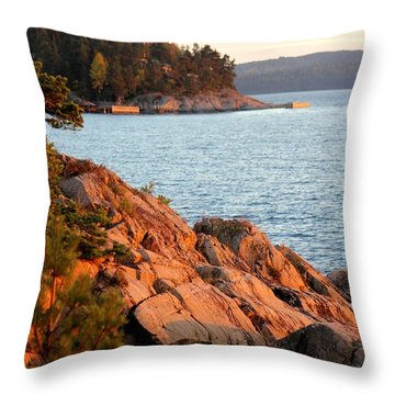 Evening Sun By The Waterfront Throw Pillow
