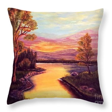 Evening Sun Sets Over A Lake Somewhere Off The Gulf Of Mexico Throw Pillow