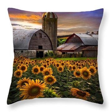 Evening Sunflowers Throw Pillow by Debra and Dave Vanderlaan