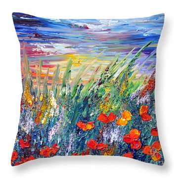 Evening Throw Pillow by Teresa Wegrzyn