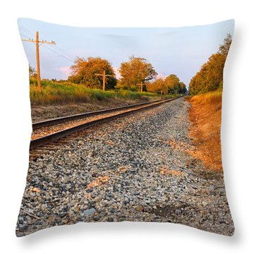 Evening Tracks Throw Pillow