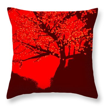 Evening Tree Throw Pillow