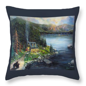 Evening Visitors Throw Pillow