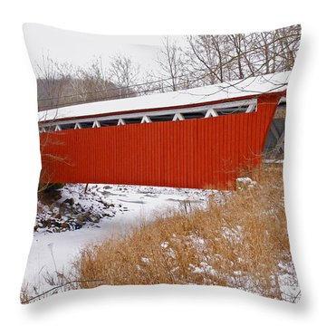 Everett Rd. Covered Bridge In Winter Throw Pillow