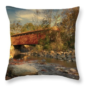 Everett Rd Summit County Ohio Covered Bridge Fall Throw Pillow