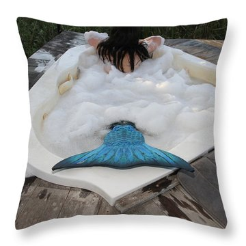 Everglades City Florida Mermaid 066 Throw Pillow by Lucky Cole