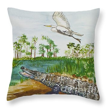 Everglades Critters Throw Pillow
