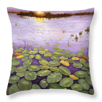 Throw Pillow featuring the painting Everglades Evening by Karen Zuk Rosenblatt