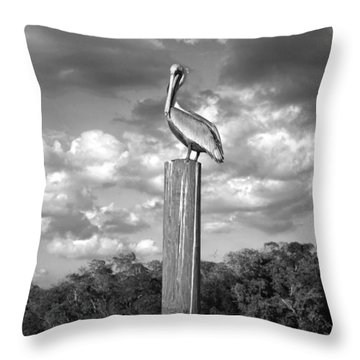 Everglades Pelican Throw Pillow by Timothy Lowry
