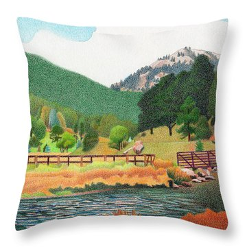 Evergreen Lake Spring Throw Pillow