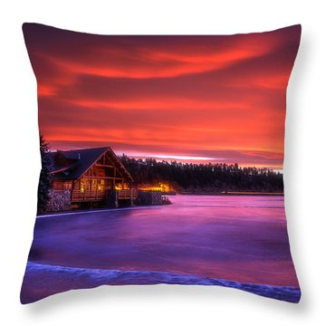 Evergreen Lake Sunrise Throw Pillow