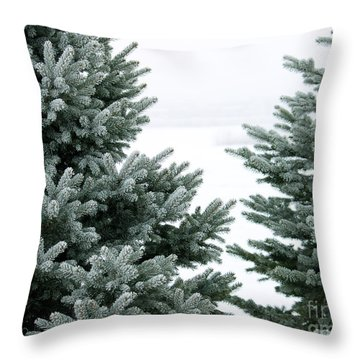Evergreens Throw Pillow by Debbie Hart