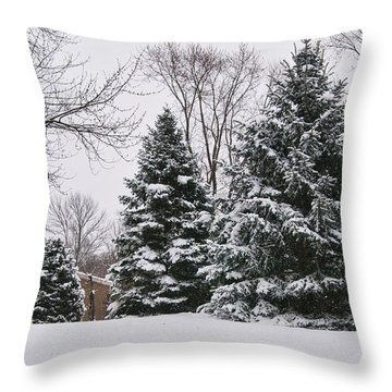 Evergreens In The Snow Throw Pillow