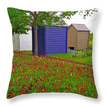 Every Garden Needs A Shed And Lawn In Les Jardins De Metis/reford Gardens-qc Throw Pillow by Ruth Hager