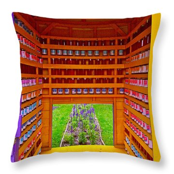 Every Garden Needs A Shed And Lawn Three In Reford Gardens Near Grand-metis-qc Throw Pillow by Ruth Hager