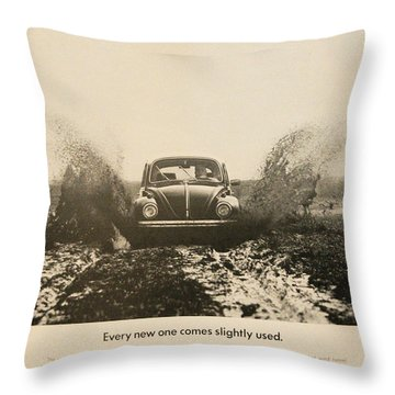Every New One Comes Slightly Used - Vintage Volkswagen Advert Throw Pillow by Georgia Fowler