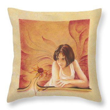 Everyday Angel With Flower Throw Pillow