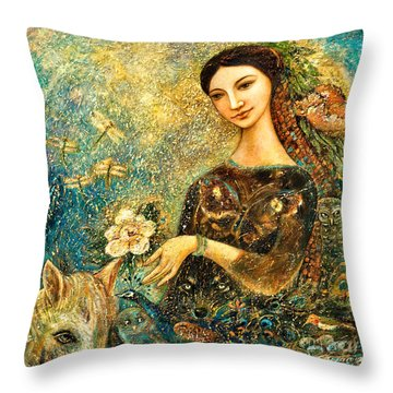 Eve's Orchard Throw Pillow by Shijun Munns