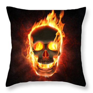 Evil Skull In Flames And Smoke Throw Pillow