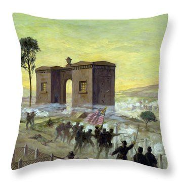 Ewells Charge On Cemetery Ridge Throw Pillow