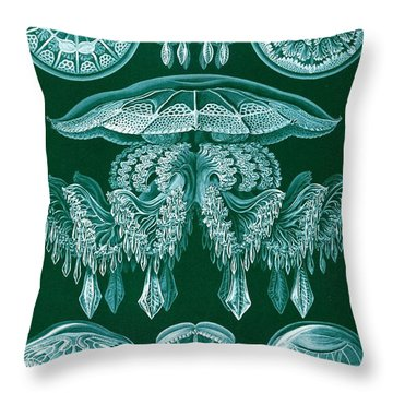 Examples Of Discomedusae Throw Pillow by Ernst Haeckel