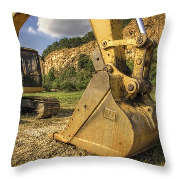 Excavator At Big Rock Quarry - Emerald Park - Arkansas Throw Pillow
