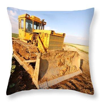 Excavator Working Throw Pillow by Michal Bednarek