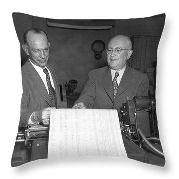 Executives Viewing Data Sheets Throw Pillow