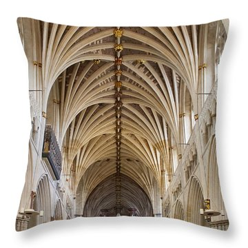 Exeter Cathedral And Organ Throw Pillow