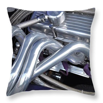 Exhaust Manifold Hot Rod Engine Bay Throw Pillow by Allen Beatty